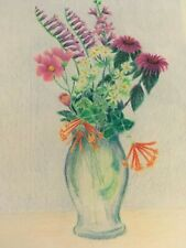 COLORED PENCIL drawing   mixed flowers in vase