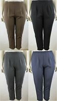 Plain Tapered Leg Trousers with Side Pockets, Plus Size 10-22