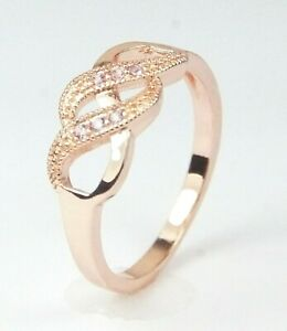 Women's Rose Gold Plated Pink Crystal Band Ring UK Size R