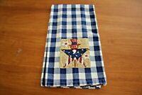 Towel Kitchen Dish Tea Hand Patriotic Americana Uncle Sam Navy Blue Check Cotton