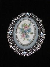 Victorian style reproduction brooch pin silver toned with blue stones and flower