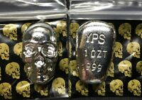 1 oz 999 Fine Silver Bar by - YPS - Yeager's Poured Silver - SKULL