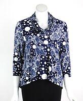 Joseph Ribkoff Tunic Top Blouse Cowl Neck 3/4 Sleeves Paisley Navy Size 8 New