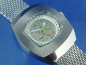 Automatic Watch 1970s Swiss BF 158 NOS Vintage Steampunk Skeleton Astromatic X