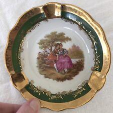 Vintage LIMOGES France ASHTRAY Veritable Porcelaine D'art ROMANCING COUPLE