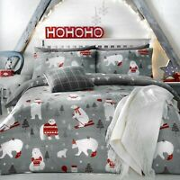 Bedlam Christmas Bedding Festive Xmas Duvet Quilt Cover Set Reversible Grey