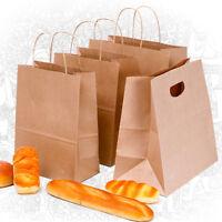 1/5x Brown Kraft Paper Pastry Package Bag Takeaway Baling Gift Twist Handle Bag