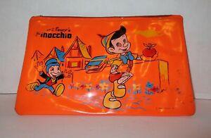 Vintage Walt Disney's Vinyl Pencil Zip Case - Pinocchio