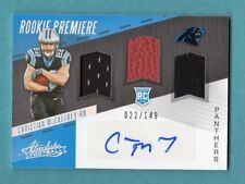 CHRISTIAN McCAFFREY 2017 ABSOLUTE AUTOGRAPH RC RELIC BALL JERSEY # 22 / 149 1/1