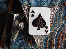 Nuevo par de Ace of Spades Calavera Cuello Consejos Metal Plateado, western, cowboy, jugador
