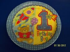 """Hugs & Stitches Boy Blue First 1st Birthday Party 10.5"""" Paper Banquet Plates"""