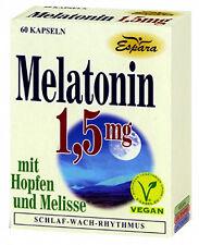 Melatonin mit Hopfen und Melisse 60 Kapseln Nahrungsergänzung 1,5mg Vegan Espara