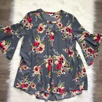 Jodifl Women's Size Small Shirt Top Bell Sleeves Gray Pink Floral Print Boho