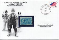 La segunda guerra mundial 1941 Roosevelt promete ayudar a derrotar a Hitler Sello Cubierta (EE. UU./Danbury Mint)