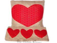 New Red Gold Heart Christmas Cushion Set Handmade Natural Jute Burlap Hessian
