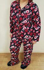 Size 12/14 Floral Flannel Pyjamas Set Navy Blue Pink Warm Gift PJs Buttoned