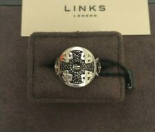 Links of London Timeless Sterling Silver & Black Sapphire Ring RRP £195  size N