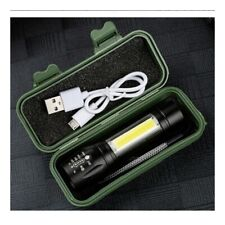 Outdoor LED Torch USB Rechargeable Flashlight Police Tactical Zoom Camping Lamp