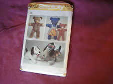Vtg Simplicity Pattern 6062 Stuffed Animals 1973 Bear Dog Large Small Clothes
