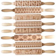 Embossed Christmas Patterns Carved Wooden Rolling Pin Elk Snowflake Print Roller