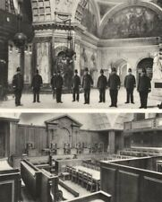LONDON. Inside the Old Bailey. The great hall and one of the Courts 1926 print