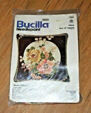 "Bucilla 4304 Needlepoint Kit Silver Dollars Floral 14"" Pillow Wool Vintage HTF"
