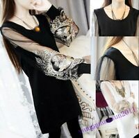 New Ladies Lace Tees Tops Shirt Long Sleeve Plus Size Spring Stylish Casual Size