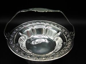 Vtg Gorham Sterling Handled Small Nut / Open Sugar Basket Dish Bowl #1091 - 96gr