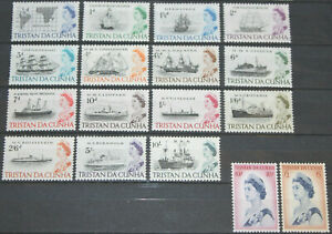Tristan da Cunha 1965 QEII Ships complete set of 17 mint stamps to £1  LMM/MNH