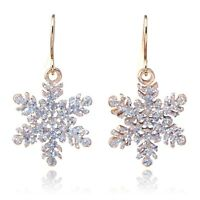 *UK* GOLD GLITTER CHRISTMAS SNOWFLAKE DROP DANGLE HOOK EARRINGS SNOW LADIES XMAS