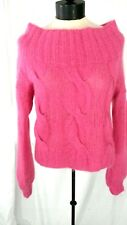 H&M Nwot Women 4 Raspberry Acrylic/Wool/Mohair Boat Neck Cable Knit Sweater