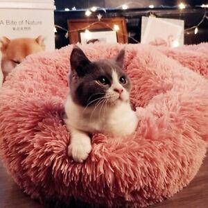 Pet Dog Cat Fluffy Bed Round Nest Warm Long Plush Sleeping Bag Washable M L