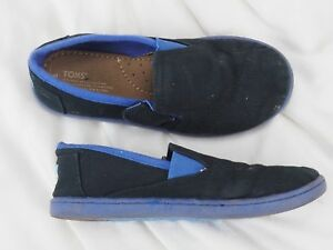TINY TOMS Shoes Black Blue Cotton Canvas Fabric Boys Size T 11 Slip On Loafers