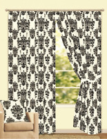BLACK CREAM LICHFIELD DAMASK FLOCK  LINED CURTAINS & TIE BACKS  46x54 INCHES