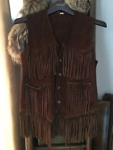 Vintage Real Leather Fringe Vest Hippie Disco Gogo Party Chocolate Brown M