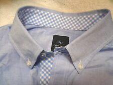 Tailorbyrd 100% Cotton Oxford Blue Sport Shirt  Gingham Trim NWT Large $99.50