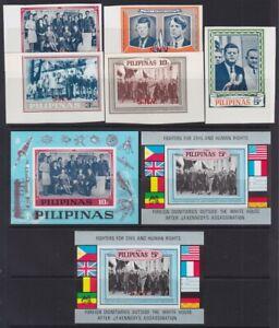 1968 PHILIPINES The Kennedy Mosden issue SPECIMEN PAIRS  IMPERF.  MICHEL.IX-XIII