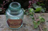ANTIQUE SMALL AQUA GLASS DONUT SHAPE  INK - WATERMAN`S VIOLET INK   LABEL
