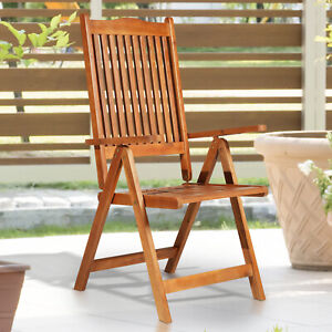 Outsunny 5-Position Acacia Wood Chair Folding Recliner Dining Seat Garden