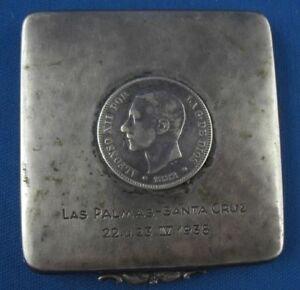 Etui Streichholzetui Münze Las Palmas -Santa Cruz 1938 Hammerschlag 835er Silber