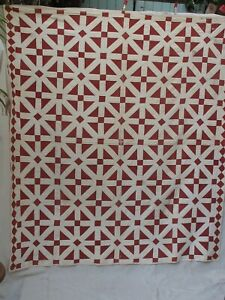 Antique Red And White  Hand Sewn Quilt Early Fabric