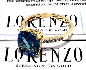 Designer Lorenzo 3.95ct Topaz & Sapphire, 18k Yellow Gold Over .925 Silver Ring