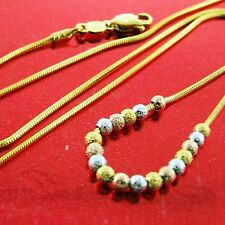 FS589 GENUINE 18K YELLOW WHITE ROSE G/F GOLD SOLID NECKLACE CHAIN BEAD PENDANT