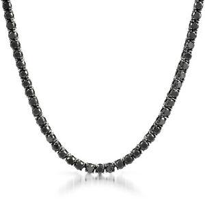 Stunning 4MM D/VVS1 Diamond 1-ROW 14K Black Gold Over Silver Tennis Necklace