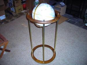 "Floor Globe Stand Atomic 60's Replogle 12"" Leroy Tolman Raised Relief Wooden"
