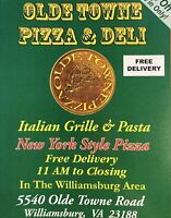Williamsburg VA Olde Town Pizza Paper Menu Brochure Advertising Brochure Dining