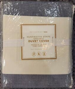 Pottery Barn Teen Huntington Stripe Organic Duvet Cover, Twin/Twin XL, Navy Mult