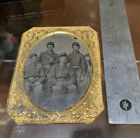 Authentic Civil War Tintype Photograph Naval Soldiers Holding Revolver Union