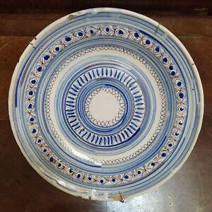 Siglo XIX Plato Original de Cerámica de Manises geométrico pintado a mano cm30,5