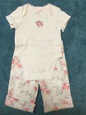 cb738514d4 Preemie baby girl 2 pc Little Me white bodysuit w embroidery   floral pant  100